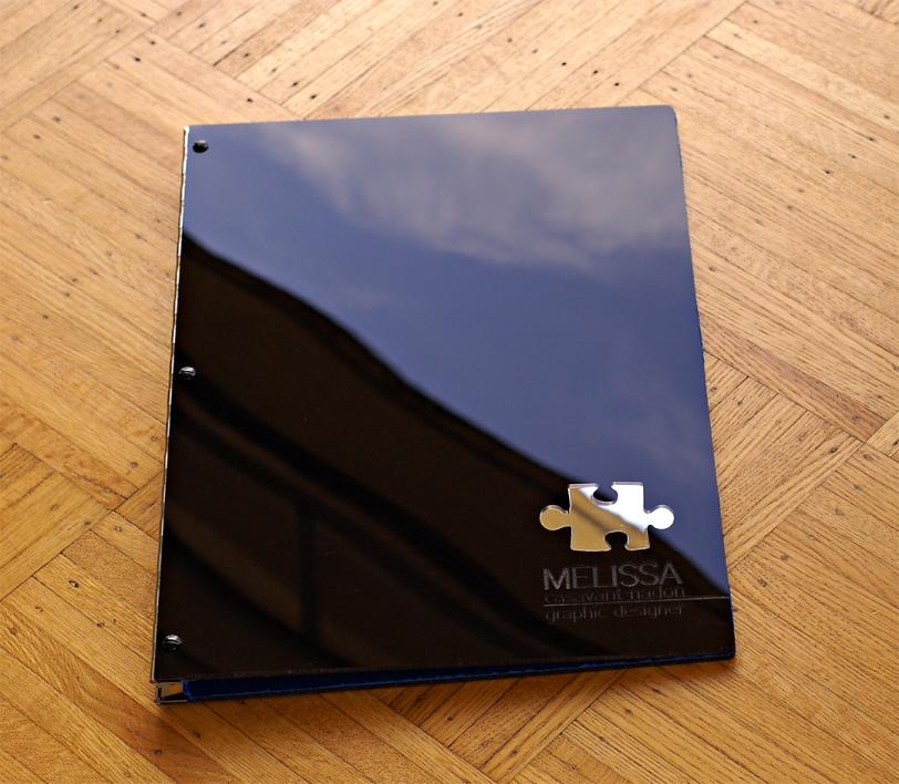 Custom black acrylic portfolio